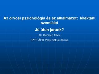Az orvosi pszichológia és az alkalmazott  lélektani szemlélet Jó úton járunk? Dr. Rudisch Tibor