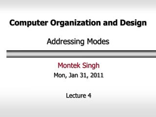 Computer Organization and Design  Addressing Modes