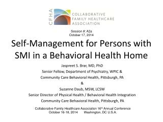 Self-Management for Persons with SMI in a Behavioral Health Home