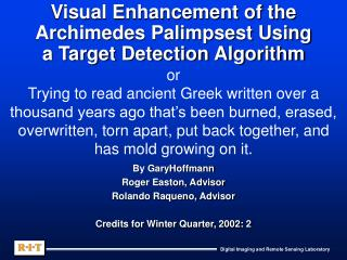 Visual Enhancement of the Archimedes Palimpsest Using a Target Detection Algorithm