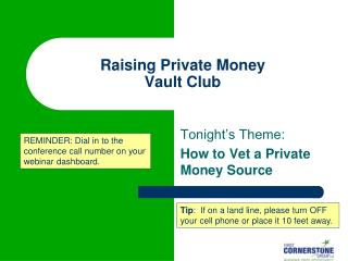 Raising Private Money Vault Club