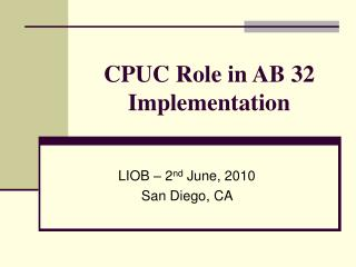 CPUC Role in AB 32 Implementation