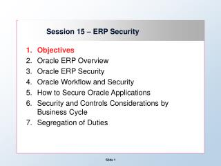 Session 15 – ERP Security