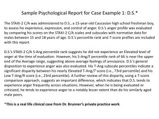 Sample Psychological Report for Case Example 1: D.S.*