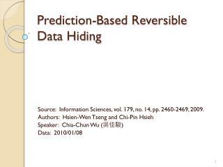 Prediction-Based Reversible Data Hiding
