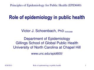 Role of epidemiology in public health