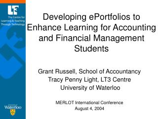 Developing ePortfolios to Enhance Learning for Accounting and Financial Management Students