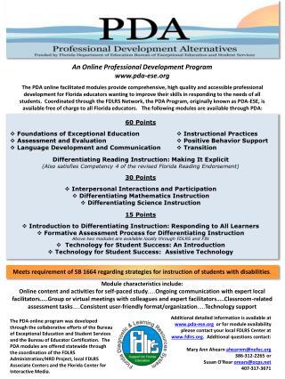 An Online Professional Development Program pda- ese