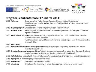 Program  Leankonference  17. marts 2011