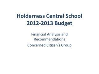Holderness Central School  2012-2013 Budget