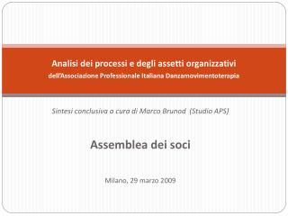 Sintesi conclusiva a cura di Marco Brunod  (Studio APS)  Assemblea dei soci Milano, 29 marzo 2009