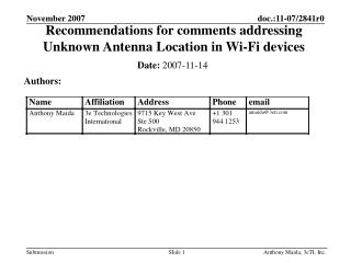 Recommendations for comments addressing Unknown Antenna Location in Wi-Fi devices