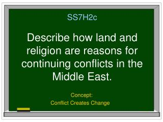 SS7H2c Describe how land and religion are reasons for continuing conflicts in the Middle East.