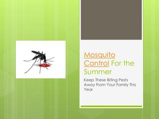 Mosquito ControlFor the Summer - Keep These Biting Pests Awa