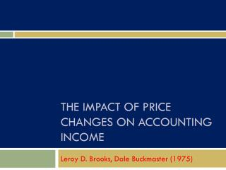The Impact of price changes on accounting income