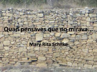 Quan pensaves que no mirava... Mary Rita Schilke