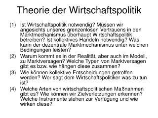 Theorie der Wirtschaftspolitik