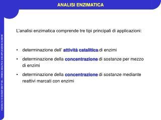 ANALISI ENZIMATICA