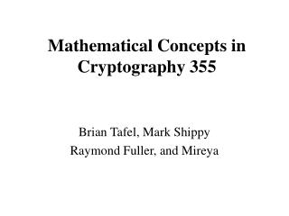 Mathematical Concepts in Cryptography 355