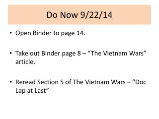 Do Now 9/22/14