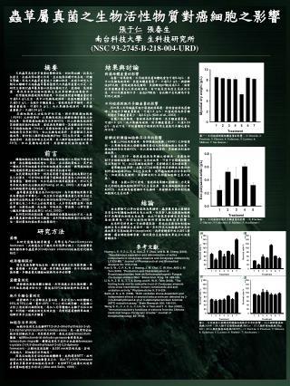 蟲草屬真菌之生物活性物質對癌細胞之影響 張于仁   張春生 南台科技大學  生科技研究所 (NSC 93-2745-B-218-004-URD)