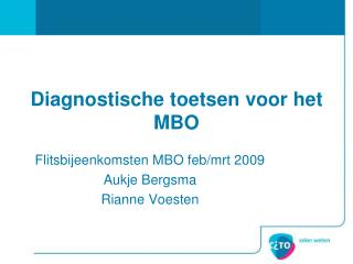 Diagnostische toetsen voor het MBO
