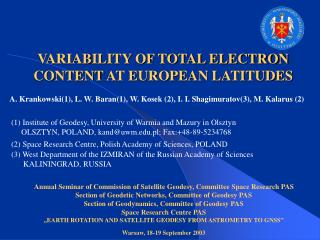 VARIABILITY OF TOTAL ELECTRON CONTENT AT EUROPEAN LATITUDES