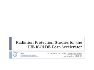 Radiation Protection Studies for the HIE ISOLDE Post-Accelerator
