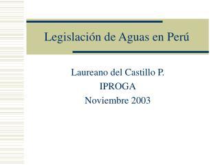 Legislación de Aguas en Perú
