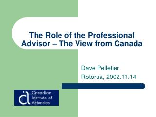 The Role of the Professional Advisor   The View from Canada