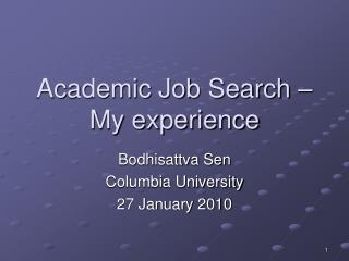 Academic Job Search – My experience