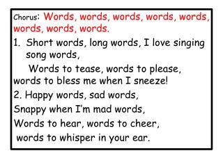 Chorus :  Words , words, words, words, words, words, words,  words.