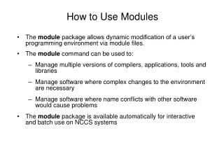 How to Use Modules