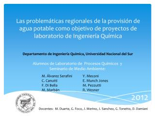 Alumnos de Laboratorio de  Procesos Químicos  y Seminario de Medio Ambiente: