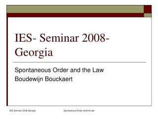 IES- Seminar 2008- Georgia