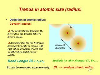 Trends in atomic size (radius)