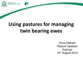 Using pastures for managing twin bearing ewes