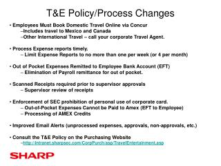 T&E Policy/Process Changes