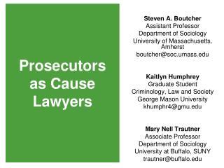 Prosecutors  as Cause  Lawyers