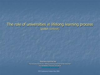 The role of universities in lifelong learning process (polish context)