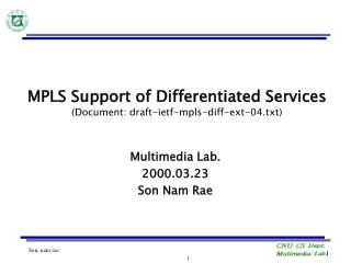 MPLS Support of Differentiated Services (Document: draft-ietf-mpls-diff-ext-04.txt)
