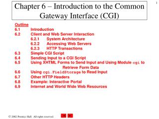 Chapter 6 –  Introduction to the Common Gateway Interface (CGI)