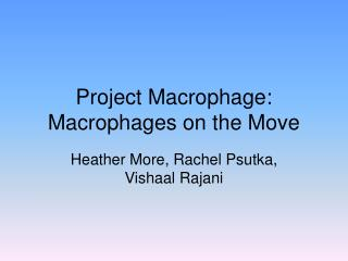 Project Macrophage: Macrophages on the Move
