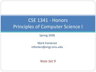 CSE 1341 - Honors Principles of Computer Science I
