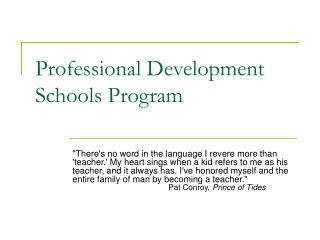 Professional Development Schools Program