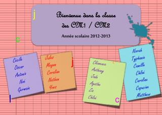 Bienvenue dans la classe  des CM1 / CM2  Année scolaire 2012-2013
