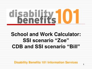 "School and Work Calculator: SSI scenario ""Zoe"" CDB and SSI scenario ""Bill"""