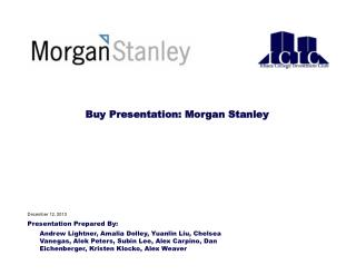 Buy Presentation: Morgan Stanley
