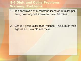 8-6 Digit and Coins Problems Warm-up Problems