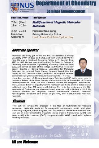 Department of Chemistry  Seminar Announcement